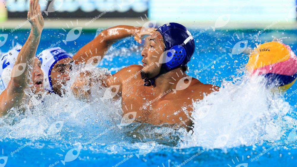 Yusuke Shimizu of Japan<br /> Greece  (white cap) -  Japan (blue cap)<br /> Preliminary Round Water Polo Women<br /> Day10  23/07/2017 <br /> XVII FINA World Championships Aquatics<br /> Alfred Hajos Complex Margaret Island  <br /> Budapest Hungary <br /> Photo @Deepbluemedia/Insidefoto Photo @Marcelterbals/Deepbluemedia/Insidefoto