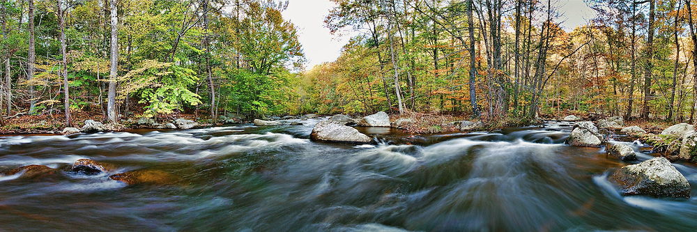 Ken Lockwood Gorge in Fall. 3 to 1 Aspect Panorama.