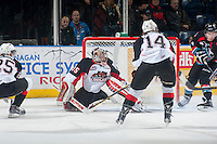 KELOWNA, CANADA - DECEMBER 5: Ty Edmonds #35 of Prince George Cougars defends the net against the Kelowna Rockets on December 5, 2014 at Prospera Place in Kelowna, British Columbia, Canada.  (Photo by Marissa Baecker/Shoot the Breeze)  *** Local Caption *** Ty Edmonds;