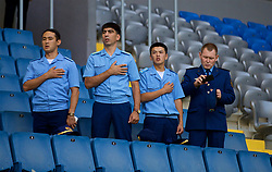 ASTANA, KAZAKHSTAN - Sunday, September 17, 2017: Kazakhstan army stand for the national anthem before the FIFA Women's World Cup 2019 Qualifying Round Group 1 match between Kazakhstan and Wales at the Astana Arena. (Pic by David Rawcliffe/Propaganda)
