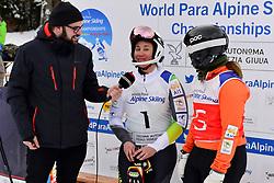 Super Combined and Super G, PERRINE Melissa Guide: KELLY Bobbi, B2, AUS at the WPAS_2019 Alpine Skiing World Championships, Kranjska Gora, Slovenia