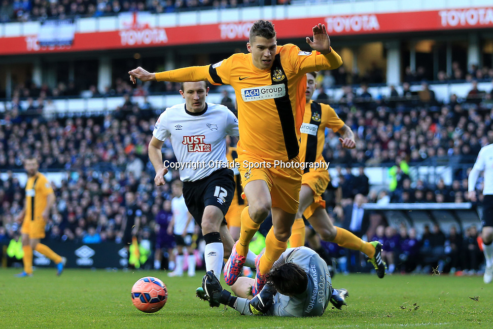 3rd January 2015 - FA Cup - 3rd Round - Derby County v Southport - Derby goalkeeper Kelle Roos saves from Mitchell Austin of Southport - Photo: Simon Stacpoole / Offside.