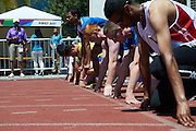 SO athletes in action while 100 meters competition during third day of the Special Olympics World Games Los Angeles 2015 on July 27, 2015 at Loker Stadium on University of Southern California in Los Angeles, USA.<br /> USA, Los Angeles, July 27, 2015<br /> <br /> Picture also available in RAW (NEF) or TIFF format on special request.<br /> <br /> For editorial use only. Any commercial or promotional use requires permission.<br /> <br /> Adam Nurkiewicz declares that he has no rights to the image of people at the photographs of his authorship.<br /> <br /> Mandatory credit:<br /> Photo by &copy; Adam Nurkiewicz / Mediasport