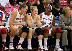 March 22, 2010; Stanford, CA, USA;  Stanford Cardinal forward/center Jayne Appel (2) and guard JJ Hones (10) and forward Nnemkadi Ogwumike (30) during the second half against the Iowa Hawkeyes in the second round of the 2010 NCAA womens basketball tournament at Maples Pavilion. Stanford defeated Iowa 96-67.