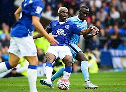 Everton's Arouna Kone under pressure from Bacary Sagna of Manchester City  - Mandatory byline: Matt McNulty/JMP - 07966386802 - 23/08/2015 - FOOTBALL - Goodison Park -Everton,England - Everton v Manchester City - Barclays Premier League