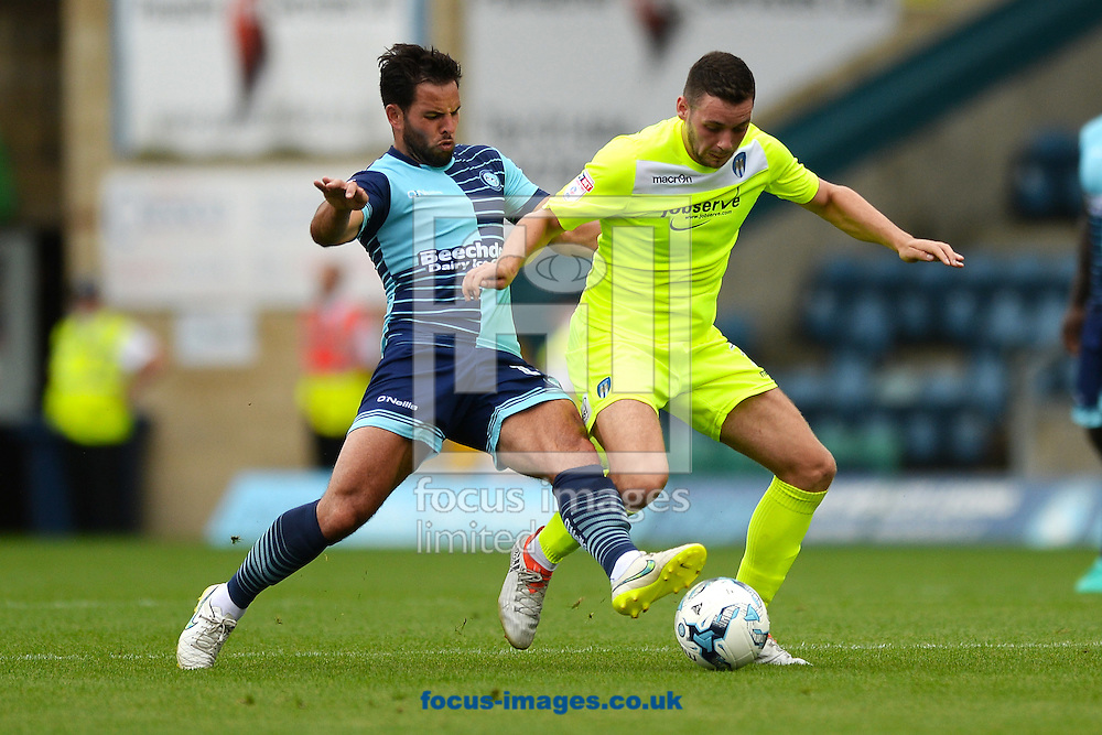 Drey Wright of Colchester United does battle with Sam Wood of Wycombe Wanderers during the Sky Bet League 2 match between Wycombe Wanderers and Colchester United at Adams Park, High Wycombe<br /> Picture by Richard Blaxall/Focus Images Ltd +44 7853 364624<br /> 27/08/2016
