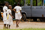 Girls in school uniforms in Kpong, Ghana on Wednesday June 17, 2009.