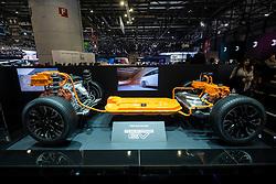 Mitsubishi EV hybrid electric powertrain on display at 87th Geneva International Motor Show in Geneva Switzerland 2017