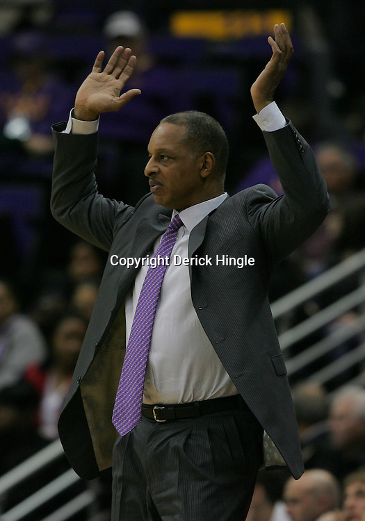 Jan 04, 2010; Baton Rouge, LA, USA; LSU Tigers head coach Trent Johnson reacts during a game against the McNeese State Cowboys at the Pete Maravich Assembly Center. LSU defeated McNeese State 83-60.  Mandatory Credit: Derick E. Hingle-US PRESSWIRE