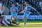 Gary MacKenzie of St Mirren dives in to block the shot of Andy Nelson of Dundee FC during the Ladbrokes Scottish Premiership match between St Mirren and Dundee at the Paisley 2021 Stadium, St Mirren, Scotland on 30 March 2019.