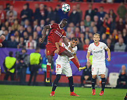 SEVILLE, SPAIN - Tuesday, November 21, 2017: Liverpool's Sadio Mane and Sevilla;'s Gabriel Mercado during the UEFA Champions League Group E match between Sevilla FC and Liverpool FC at the Estadio Ramón Sánchez Pizjuán. (Pic by David Rawcliffe/Propaganda)