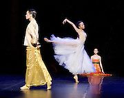 Shanghai Ballet <br /> Echoes of Eternity <br /> at the London Coliseum, London, Great Britain <br /> rehearsal <br /> 17th August 2016 <br /> based on the poem Song of Everlasting Sorrow <br /> choreography by Patrick de Bana <br /> <br /> QI Bingxue as Lady Yang <br /> WU Husheng as Emperor <br /> <br /> ZHAO Hanbing as Moon Fairy <br /> <br /> <br /> Photograph by Elliott Franks <br /> Image licensed to Elliott Franks Photography Services