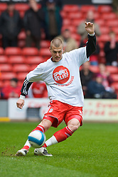 LIVERPOOL, ENGLAND - Saturday, March 8, 2008: Liverpool's Martin Skrtel wearing a Sport Relief t-shirt warms up before the Premiership match against Newcastle United at Anfield. (Photo by David Rawcliffe/Propaganda)