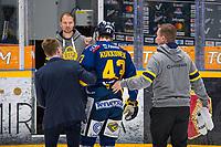 2019-12-13 | Rauma, Finland : Lukko (43) Miska Kukkonen is escorted of the ice after a hit By KalPa (81) Kai Kantola during the game between Lukko-KalPa in Kivikylän Areena ( Photo by: Elmeri Elo | Swe Press Photo )