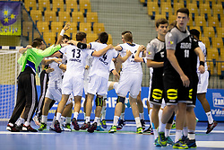 Players of France celebrate win against Germany after handball match between National teams of Germany and France in Semifinal of 2018 EHF U20 Men's European Championship, on July 25, 2018 in Arena Zlatorog, Celje, Slovenia. Photo by Urban Urbanc / Sportida