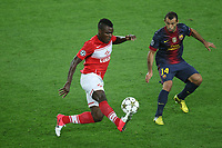 FOOTBALL - UEFA CHAMPIONS LEAGUE 2012/2013 - GROUP STAGE - GROUP G - FC BARCELONA v SPARTAK MOSCOW - 19/09/2012 - PHOTO MANUEL BLONDEAU / AOP PRESS / DPPI - EMMANUEL EMENIKE AND JAVIER MASCHERANO