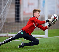 MERTHYR TYDFIL, WALES - Thursday, November 2, 2017: Wales' goalkeeper Gethin Lloyd during an Under-18 Academy Representative Friendly match between Wales and Newport County at Penydarren Park. (Pic by David Rawcliffe/Propaganda)