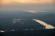 Aerial view of Angkor Wat at sunset, north of Siem Reap, Cambodia.