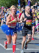 London. United Kingdom. 2014 London Marathon.  Narrow Street Limehouse, East London. Athletics 11:43:36  Sunday  13/04/2014  [Mandatory Credit; Peter SPURRIER/ Intersport Images],