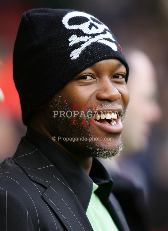 LIVERPOOL, ENGLAND - SATURDAY JANUARY 1st 2005: Liverpool's injured striker Djibril Cisse before the Premiership match against Chelsea at Anfield. (Pic by David Rawcliffe/Propaganda)
