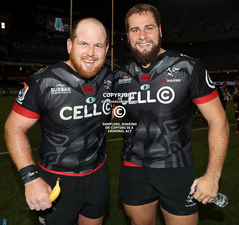 DURBAN, SOUTH AFRICA - MAY 27: Lourens Adriaanse with Thomas du Toit of the Cell C Sharks during the Super Rugby match between Cell C Sharks and DHL Stormers at Growthpoint Kings Park on May 27, 2017 in Durban, South Africa. (Photo by Steve Haag/Gallo Images)
