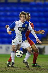 BIRKHENHEAD, ENGLAND - Monday, February 28, 2011: Blackburn Rovers' Josh Morris in action against Liverpool during the FA Premiership Reserves League (Northern Division) match at Prenton Park. (Photo by David Rawcliffe/Propaganda)