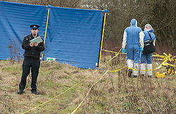 © Licensed to London News Pictures.11/03/2016. Filton, South Gloucestershire, UK. Police and scenes of crime officers at the scene by Filton airfield where human remains were found late on 10 March 2016. The remains are thought to be those of DEREK SERPELL-MORRIS known as DJ Derek who went missing on 10 July 2015 in Bristol. Derek age 73 was last seen having a drink with friends at the Commercial Rooms in Bristol city centre on 10 July and on CCTV leaving the Criterion pub in St Pauls later that evening.  A former accountant, Derek became a DJ playing 60s rocksteady, reggae, ska, dancehall and soul music and in his middle age became a well known and respected DJ of Black and Jamaican music, and is well known in Bristol.  He has played numerous gigs across the UK and appeared at many festivals including Glastonbury Festival. He also released his own compilation album, worked with Massive Attack and appeared in a Dizzee Rascal video. Photo credit : Simon Chapman/LNP