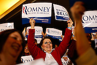 Supporters of Republican presidential candidate Mitt Romney dance and sing before his arrival at his election night Super Tuesday party at the Westin Copley Place in Boston Massachusetts on Tuesday, March 6, 2012.  UPI/Matthew Healey