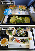 Airline Food: Economy Vs. First Class <br /> <br /> What used to be a woman's size 12 in 1968 is a woman's size 4 today; what used to be third-class is economy-class today. What changed? We've grown more sensitive: I'm not overweight, I still fit into a size 12. I'm not a third-class passenger, I'm a price conscious individual that rides in economy-class.<br /> Despite the name games, airline food hasn't changed much. Economy class meals still come in a wrapper, and business or first-class meals come with real cutlery. This list shows the sometimes striking difference between what the different classes eat.<br /> <br /> Photo shows: KLM<br /> ©Exclusivepix Media