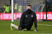 Everton goalkeeper Jordan Pickford (1) in warm up during the The FA Cup fourth round match between Millwall and Everton at The Den, London, England on 26 January 2019.