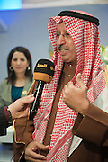 Sami Al-Nisf, Kuwaiti Columnist and Former Minister of Information speaks to the press during the inauguration of the Media Center.