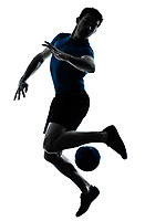 one caucasian man playing soccer football player silhouette  in studio isolated on white background