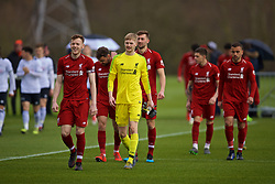 DERBY, ENGLAND - Friday, March 8, 2019: Liverpool's captain George Johnston leads his side out with goalkeeper Caoimhin Kelleher before the FA Premier League 2 Division 1 match between Derby County FC Under-23's and Liverpool FC Under-23's at the Derby County FC Training Centre. (Pic by David Rawcliffe/Propaganda)