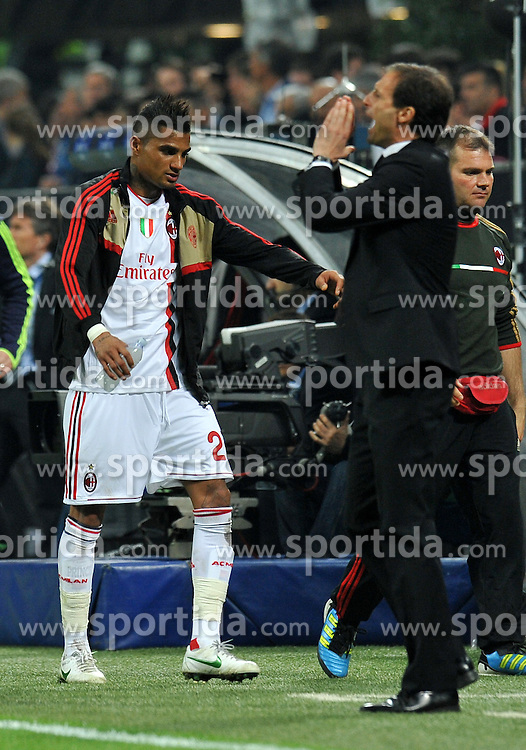 28.03.2012, Stadion Giuseppe Meazza, Mailand, ITA, UEFA CL, Viertelfinal-Hinspiel, AC Mailand (ITA) vs FC Barcelona (ESP), im Bild Kevin Prince BOATENG, Massimiliano ALLEGRI (Milan) // during the UEFA Champions League Quarter-final first leg Match between AC Mailand (ITA) and FC Barcelona (ESP) at Giuseppe Meazza Stadium, Milan, Italy on 2012/03/28. EXPA Pictures © 2012, PhotoCredit: EXPA/ Insidefoto/ Alessandro Sabattini..***** ATTENTION - for AUT, SLO, CRO, SRB, SUI and SWE only *****