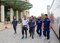 HAIFA, ISRAEL - Saturday, March 28, 2015: Wales' Tom Lawrence, Neil Taylor, Joe Allen, physiotherapist Sean Connelly and sports science coach Adam Owen on a team walk ahead of the UEFA Euro 2016 qualifying Group B match against Israel. (Pic by David Rawcliffe/Propaganda)