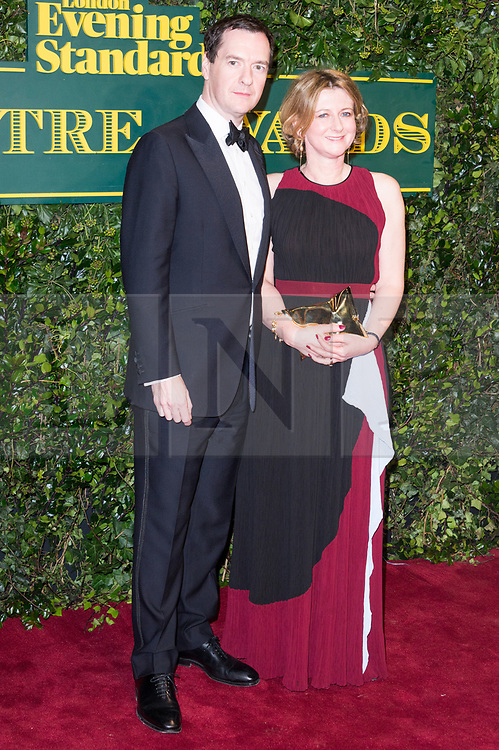 © Licensed to London News Pictures. 03/12/2017. London, UK. GEORGE OSBORNE and FRANCES OSBORNE attends the London Evening Standard Theatre Awards 2017 held at the Theatre Royal, Dury Lane. Photo credit: Ray Tang/LNP