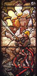 File photo dated 17/11/97 of a feature of the stained glass window, based on a design by the Duke of Edinburgh, in the newly restored Royal Chapel at Windsor Castle, where Archie Mountbatten-Windsor will be christened, which had to be entirely rebuilt following the devastating Windsor Castle fire in 1992.