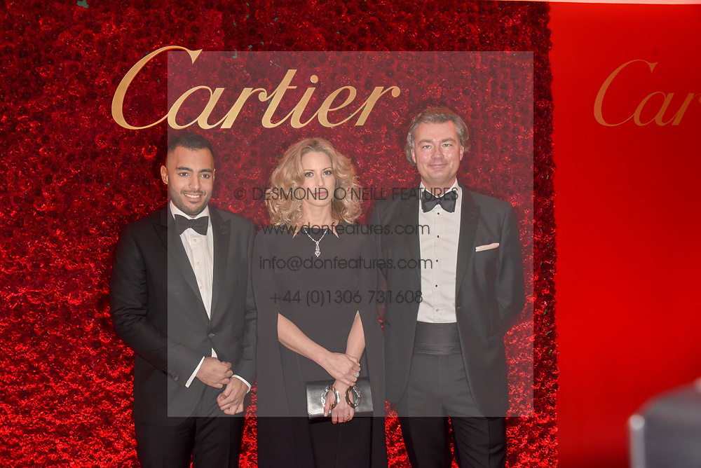 Sheikh Fahad Al Thani,  Sheikha Melissa Al Fahad and Laurent Feniou at The Cartier Racing Awards 2018 held at The Dorchester, Park Lane, England. 13 November 2018. <br /> <br /> ***For fees please contact us prior to publication***
