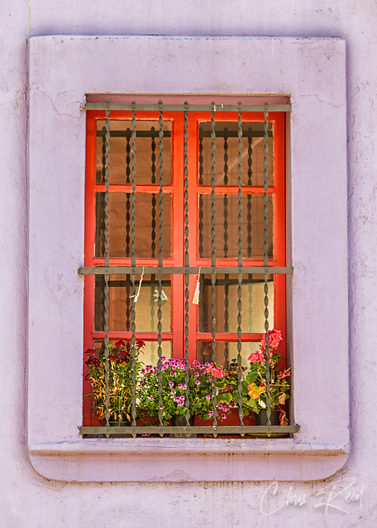 Spain, Barcelona. Window with flowers.