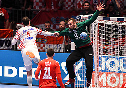 Domagoj Duvnjak of Croatia and Vladimir Cupara during the handball match between National teams of Serbia and Croatia in Group A of Men's EHF EURO 2020 on January 13, 2020 in Stadhalle Graz, Graz, Austria