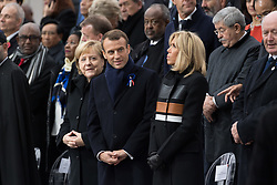 German Chancellor Angela Merkel, Emmanuel Macron and Brigitte Macron.<br /> French President Emmanuel Macron and Brigitte Macron, German Chancellor Angela Merkel, U.S. President Donald Trump, first lady Melania Trump, Morocco's King Mohammed VI, Russian President Vladimir Putin, Australian Governor-General Peter Cosgrove attend a commemoration ceremony for Armistice Day, 100 years after the end of the First World War at the Arc de Triomphe.<br /> Paris,FRANCE-11/11/2018 Photo by Jacques Witt/pool/ABACAPRESS.COM