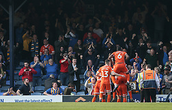 Luke Waterfall of Shrewsbury Town celebrates scoring to make it 0-2 in front of the away fans - Mandatory by-line: Arron Gent/JMP - 30/03/2019 - FOOTBALL - Roots Hall - Southend-on-Sea, England - Southend United v Shrewsbury Town - Sky Bet League One
