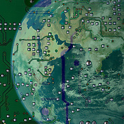 The earth and a printed circuit board to show the concept of an electronic world