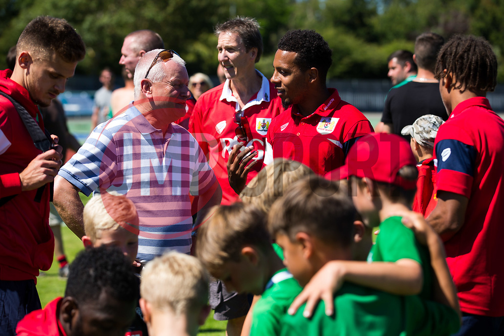 Bristol City owner and Guernsey resident Steve Lansdown speaks to captain Korey Smith after at 0-1 win in the game  - Rogan/JMP - 08/07/2017 - Footes Lane - Guernsey - Guernsey FC v Bristol City - Pre-season Friendly.