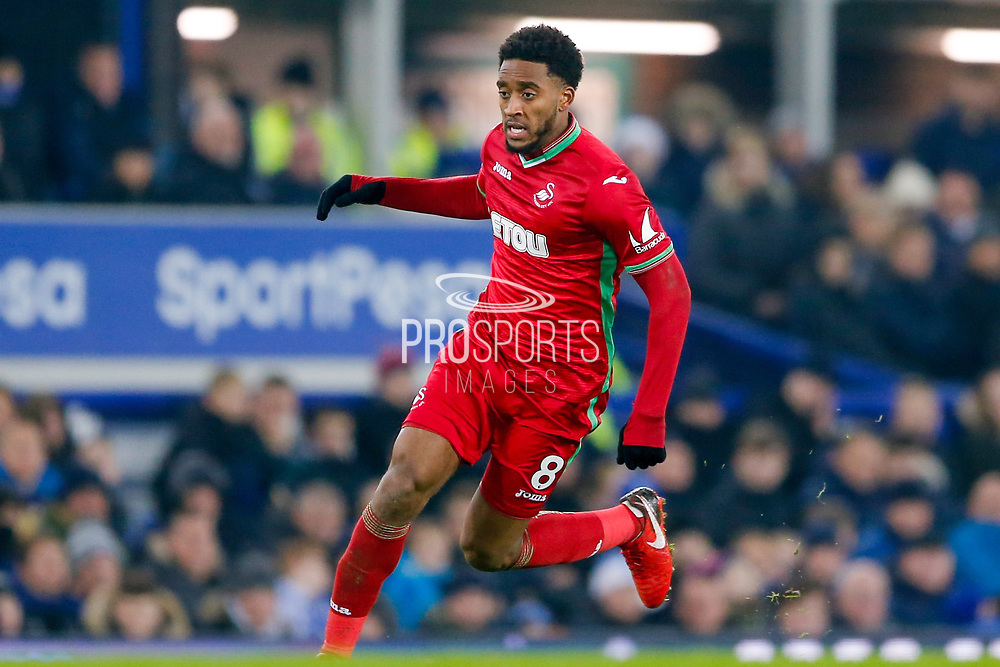 Swansea City midfielder Leroy Fer (8) in action  during the Premier League match between Everton and Swansea City at Goodison Park, Liverpool, England on 18 December 2017. Photo by Simon Davies.