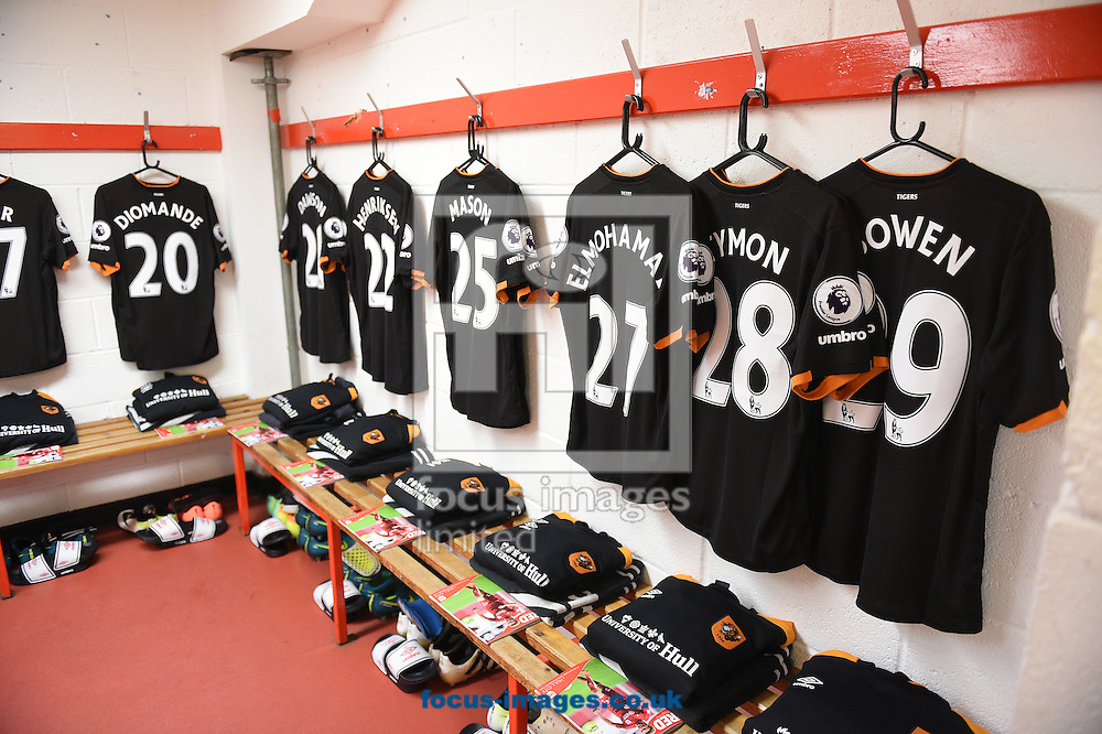 The kit of Hull City Tigers in the dressing room prior to the EFL Cup match at Ashton Gate, Bristol<br /> Picture by Daniel Hambury/Focus Images Ltd +44 7813 022858<br /> 25/10/2016