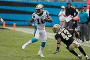 Rookie Curtis Samuel(10) jukes pass Marcus Williams(43) in the New Orleans Saints 34 to 13 victory over the Carolina Panthers.