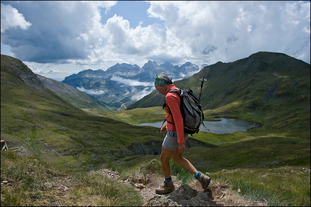 "Sophie Darcet, a young french retired, is seen on her way back from the ""Pico de los Monjes"" close to the french spanish border, spanish pyrenees."