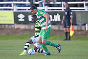 Forest Green Rovers midfielder Drissa Traore (4)  shields the ball during the Vanarama National League match between North Ferriby United and Forest Green Rovers at Eon Visual Media Stadium, North Ferriby, United Kingdom on 8 October 2016. Photo by Simon Davies.