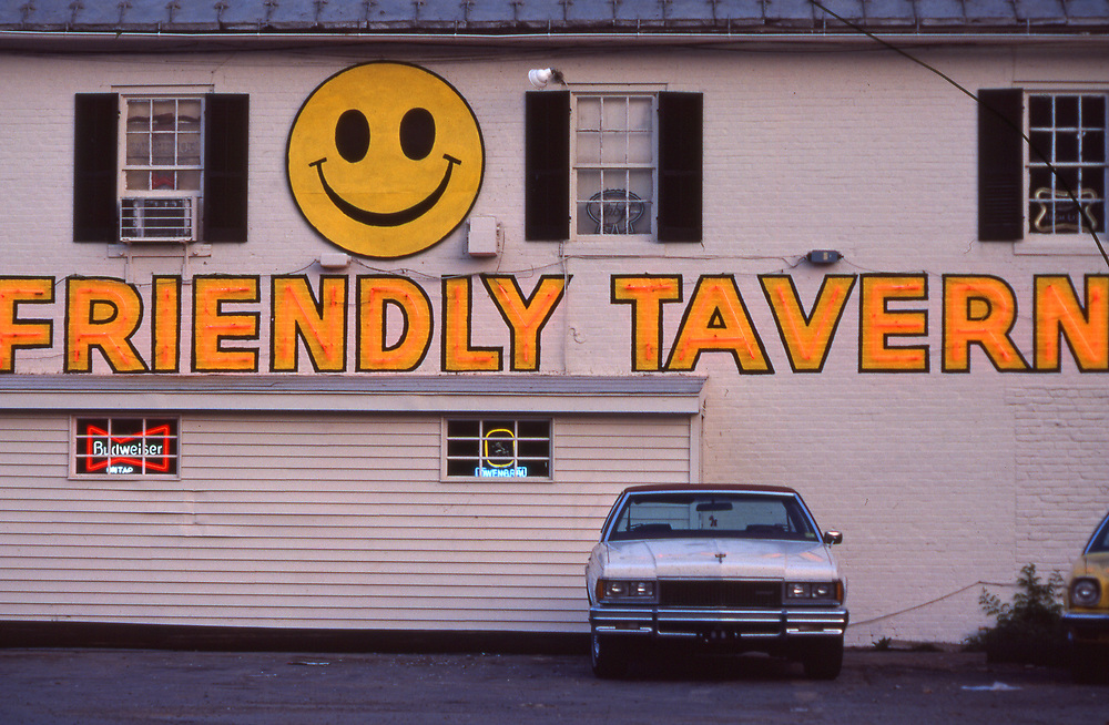 Smiley face, neon happy sign, on tavern, Perry Co., PA